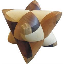 פאזל מעץ בצורת כוכב לפירוק והרכבה dual tetrahedron  4